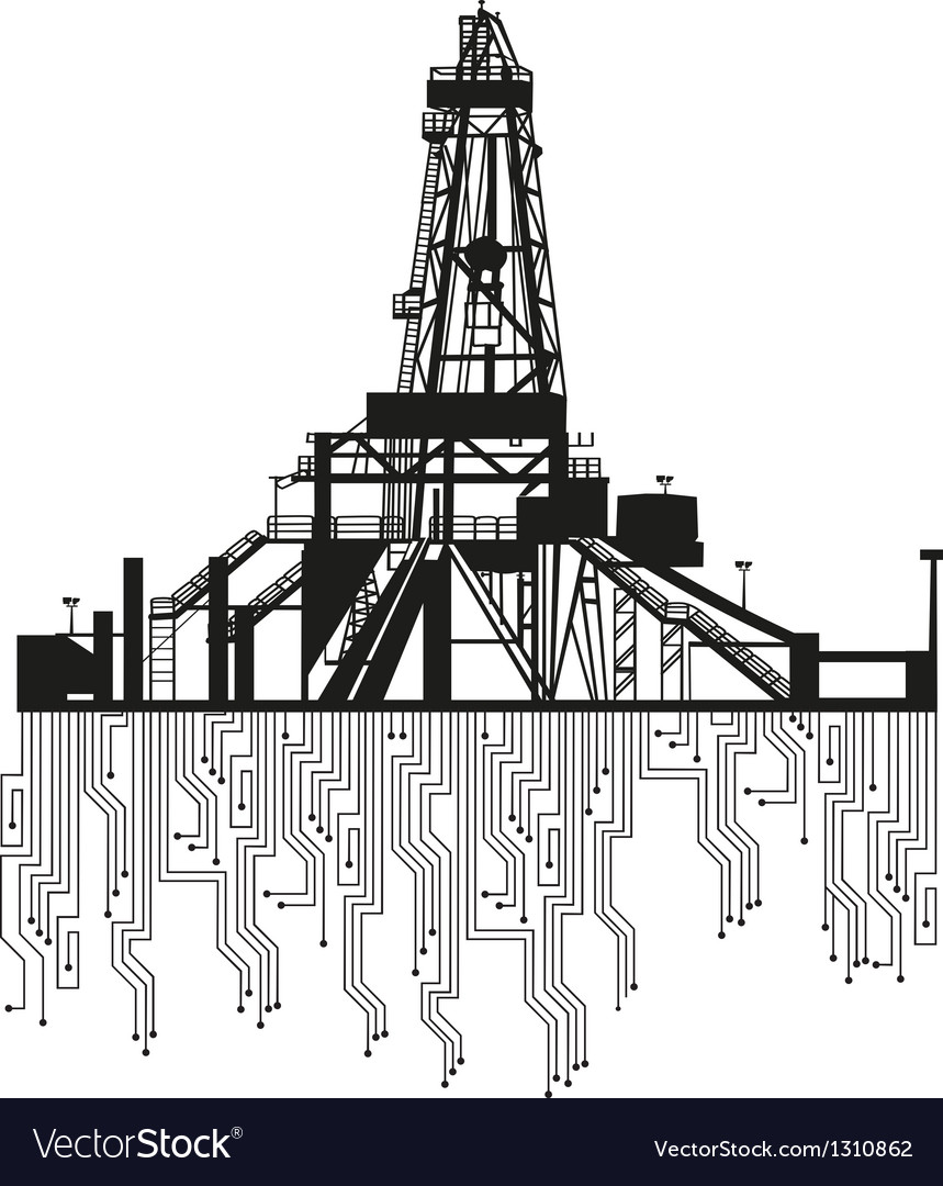 Oil rig silhouettes on white background
