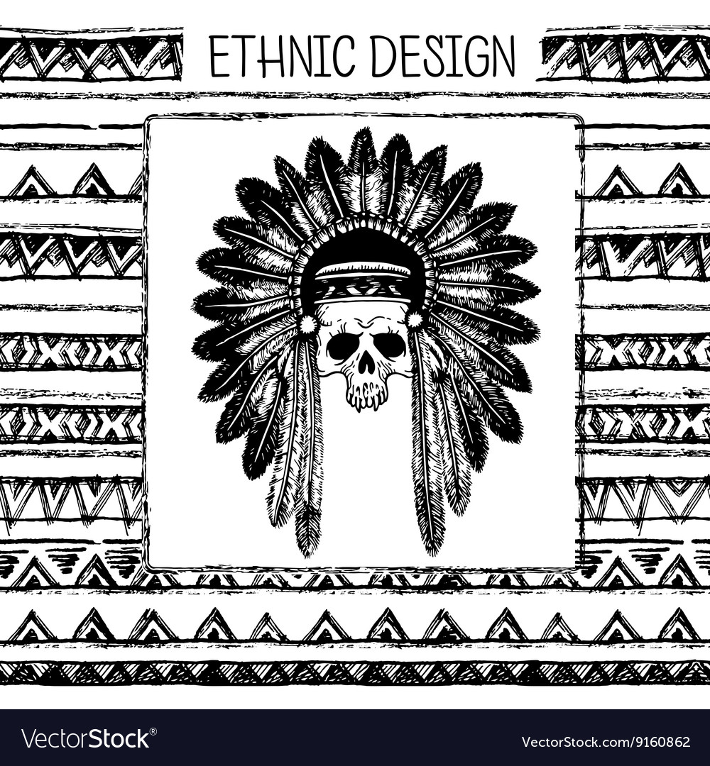 Pattern with indian headdress Black and white