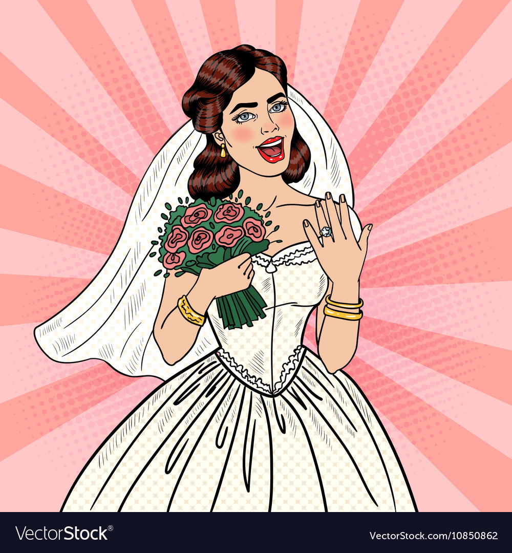 Pop art happy bride with flowers bouquet