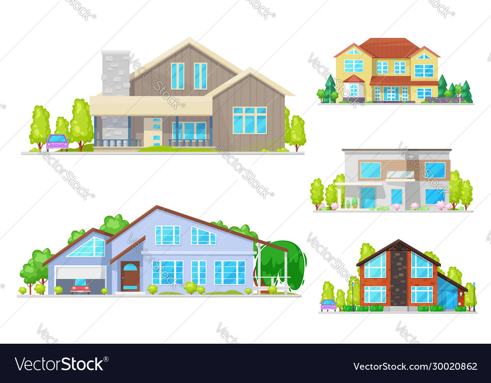 Real estate houses and villa building icons