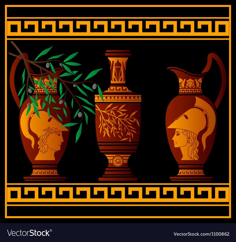 Red greek jugs