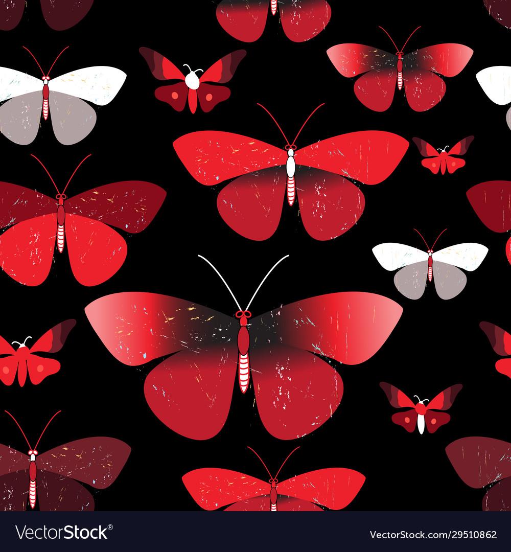 Seamless bright pattern red butterflies