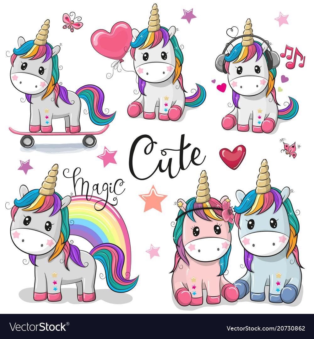 Set of cute cartoon unicorns Royalty Free Vector Image