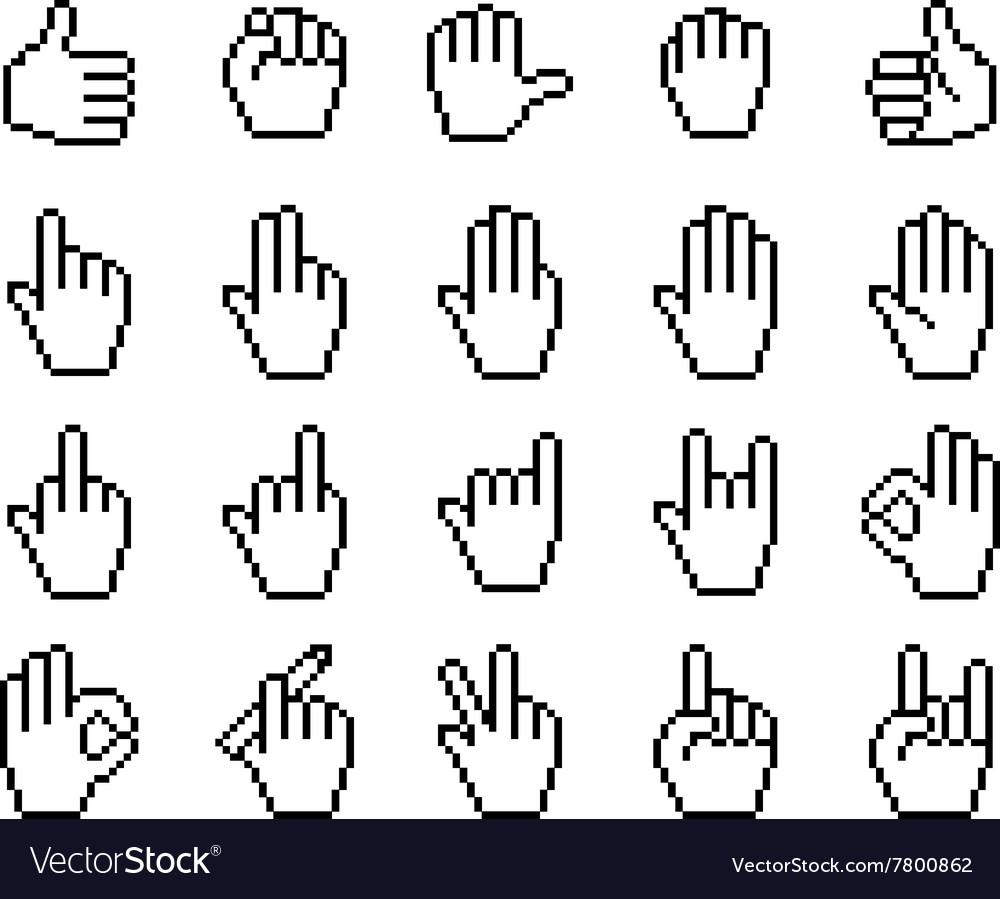 Set of unusual pixelated hand icons