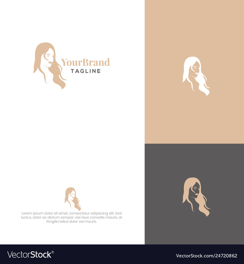 Women Hairstyle Logo Template Royalty Free Vector Image