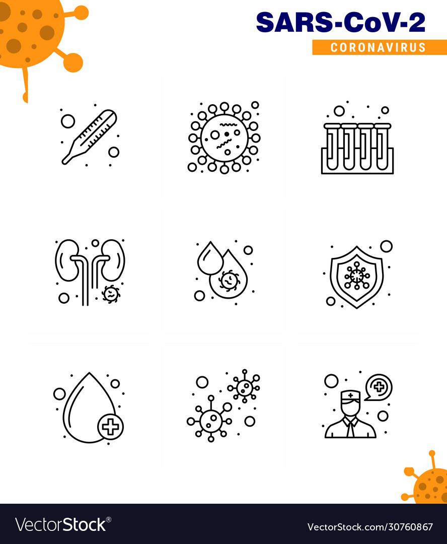 9 line coronavirus disease and prevention icon