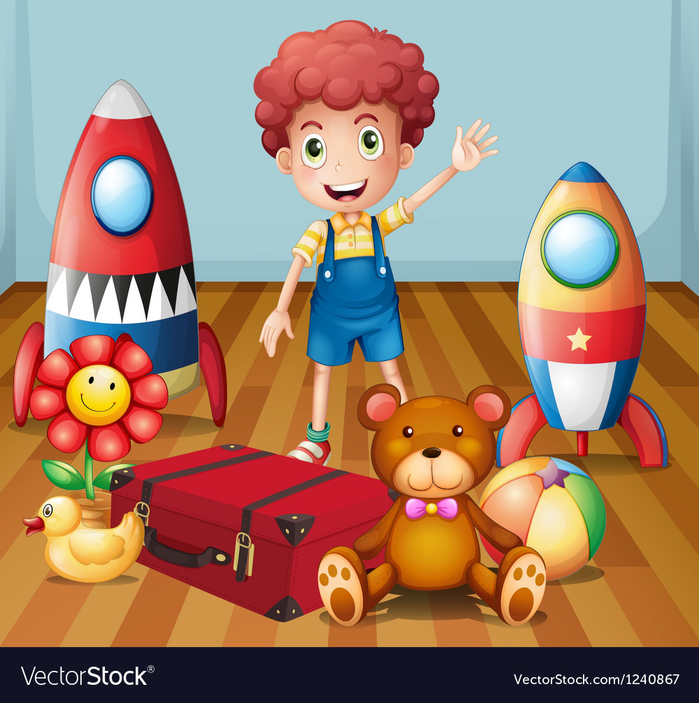 A young boy with his toys inside the room vector image