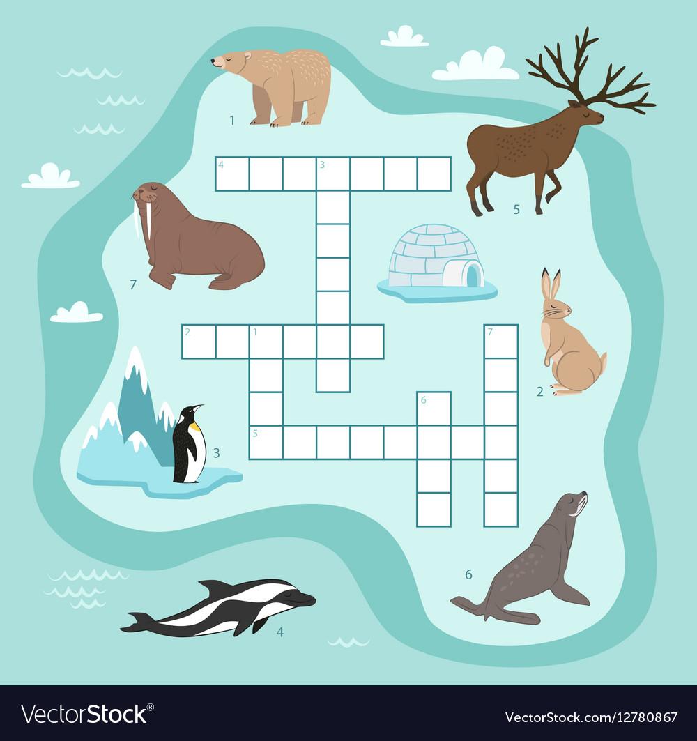 Animals crossword education game for children