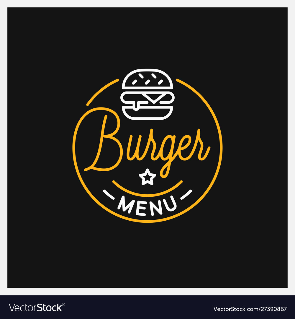 Burger shop logo round linear logo menu