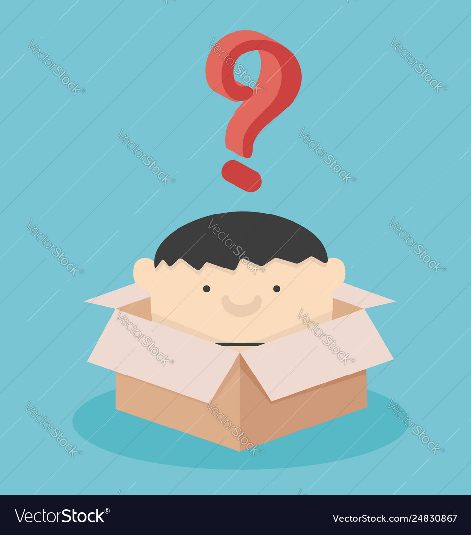 Businessmen are in box with question mark