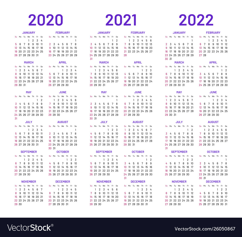 Calendar For 2021-2022 Calendar layouts for 2020 2021 2022 years Vector Image