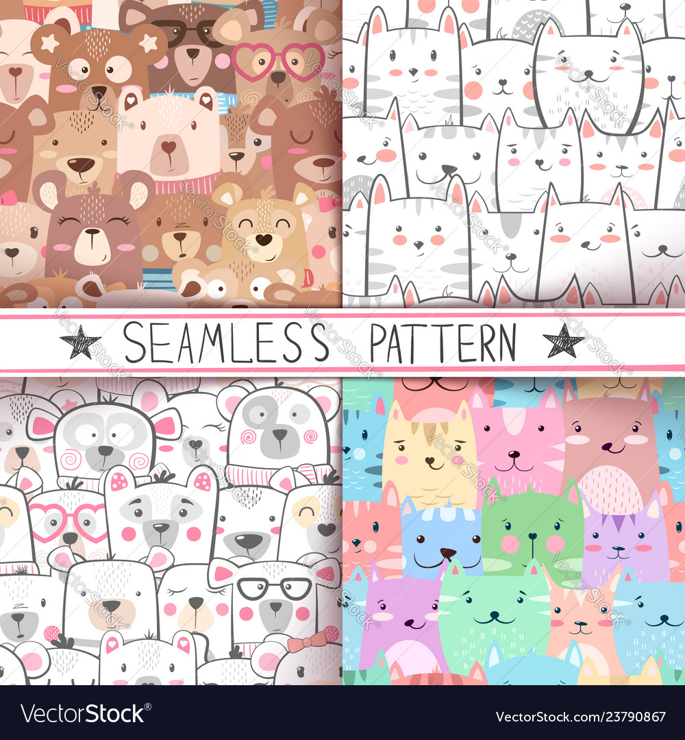 Cat bear - cute seamless pattern