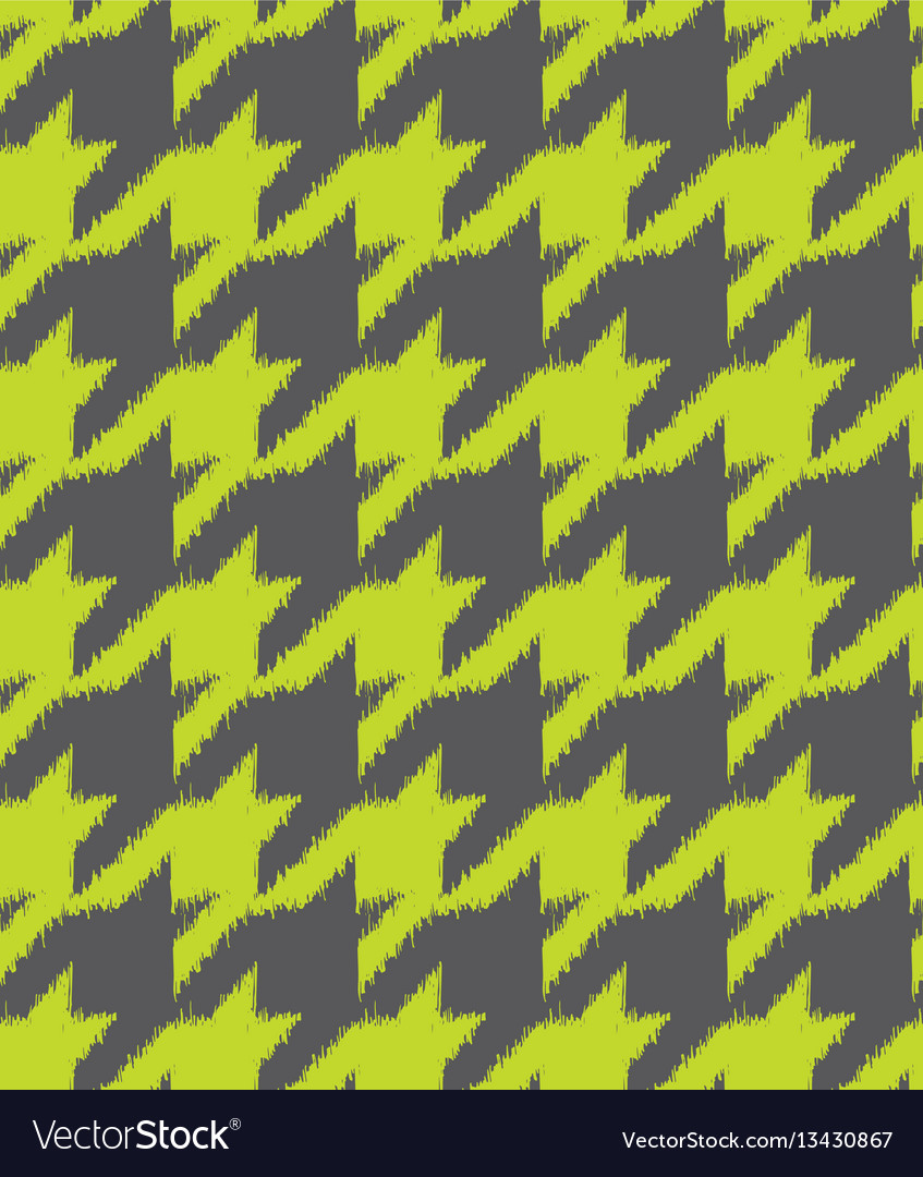 Hand drawn ikat houndstooth seamless pattern