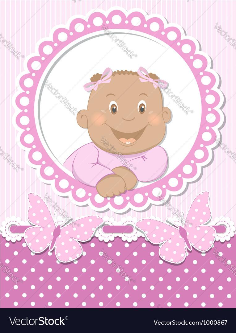 Happy African baby girl scrapbook pink frame vector image