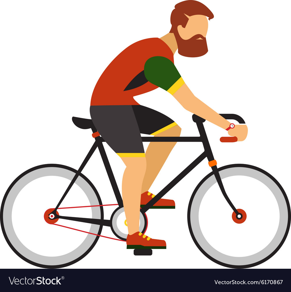 Man with beard ride by road bicycle Cycling sport