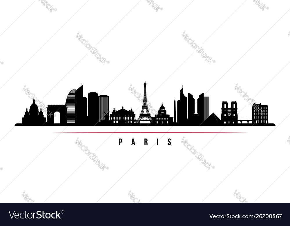 Paris city skyline horizontal banner