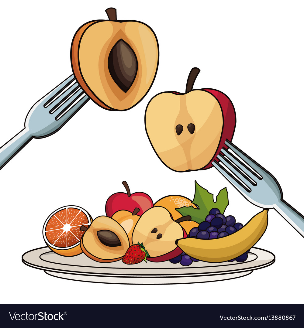 Plate with fruits nutrition with fork and knife