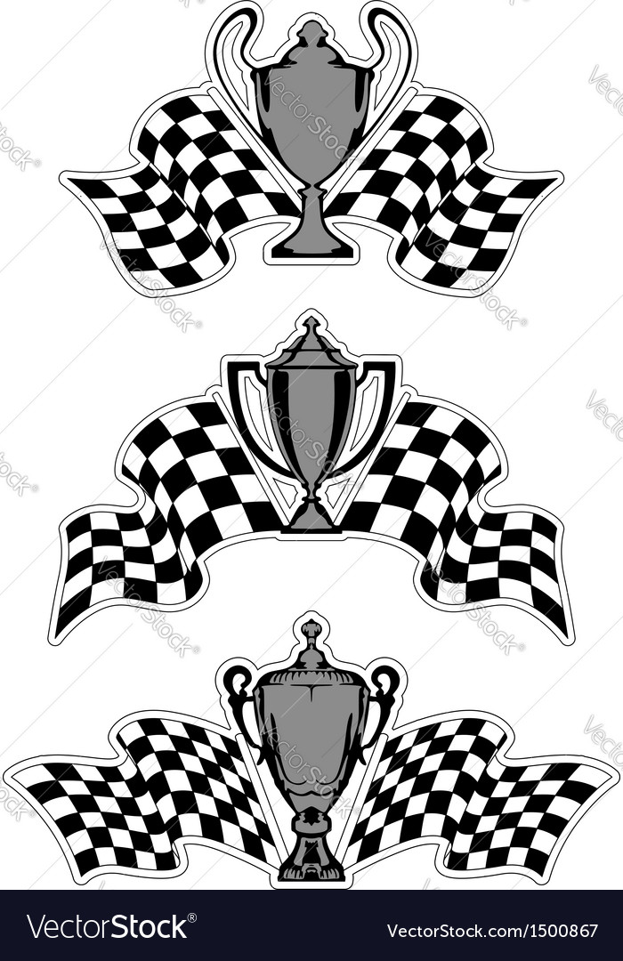 Racing sport awards and trophies vector image