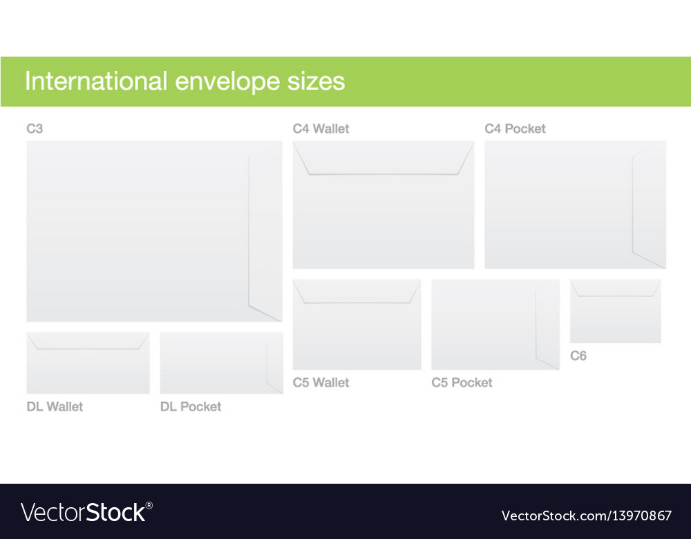 Set of international envelope sizes