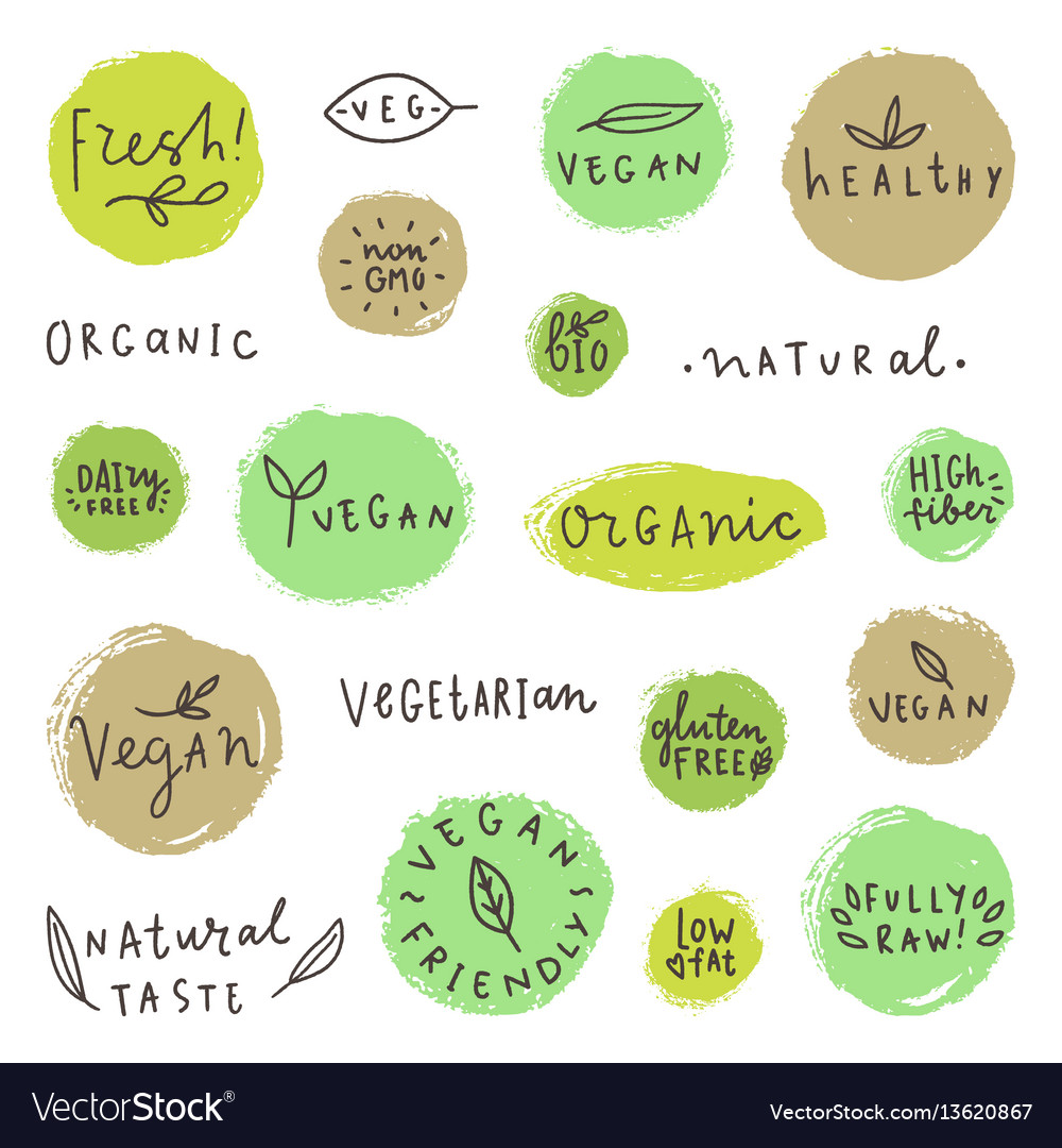 Set og vegan signs vector image