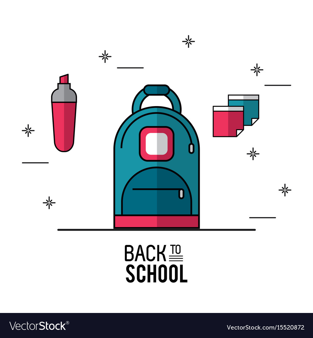 Color poster of back to school with backpack in