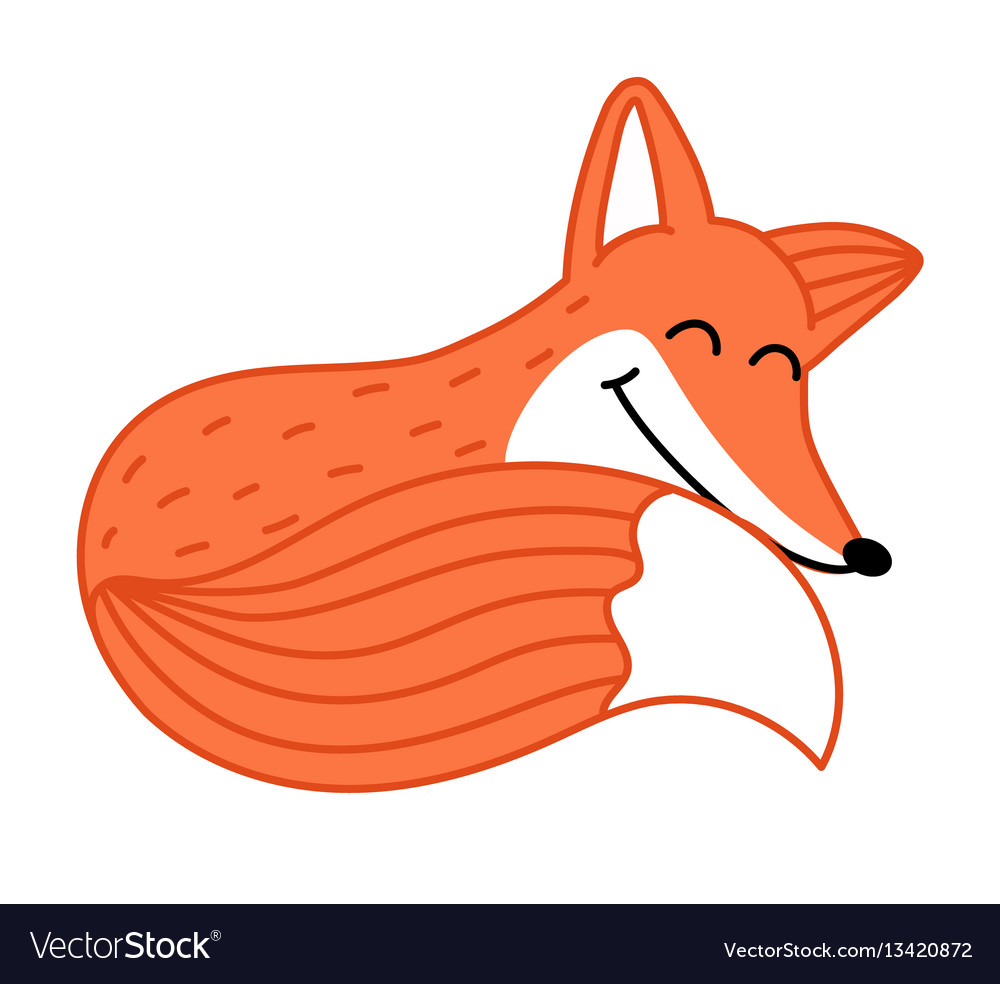 Cute little fox hand drawn cartoon character