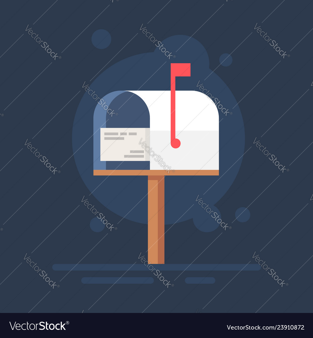 Mailbox flat notification icon vector