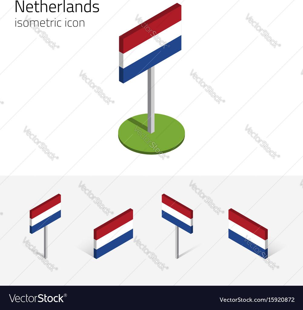 Netherlands flag 3d isometric icons
