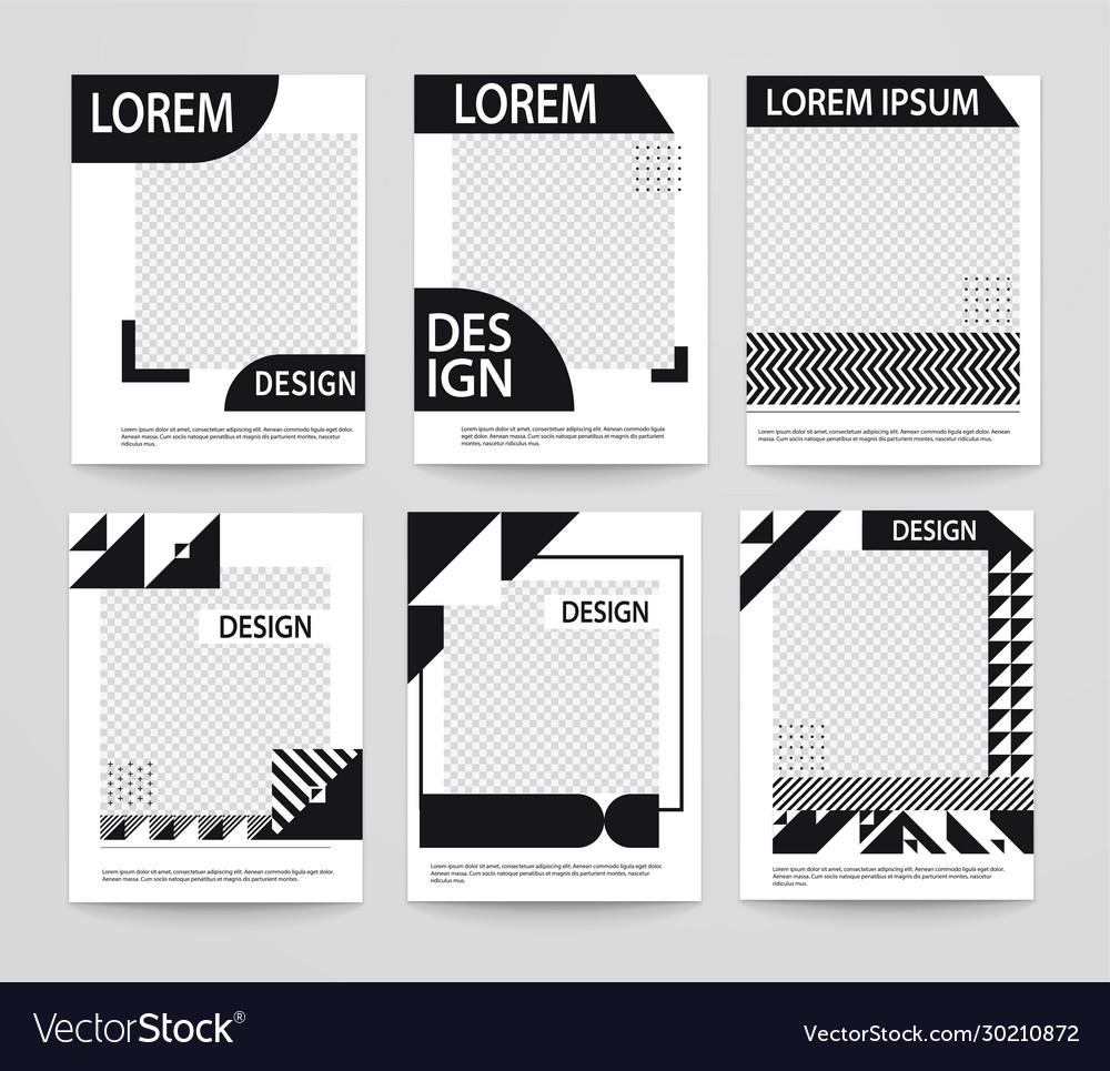 Set minimalistic geometric poster covers black