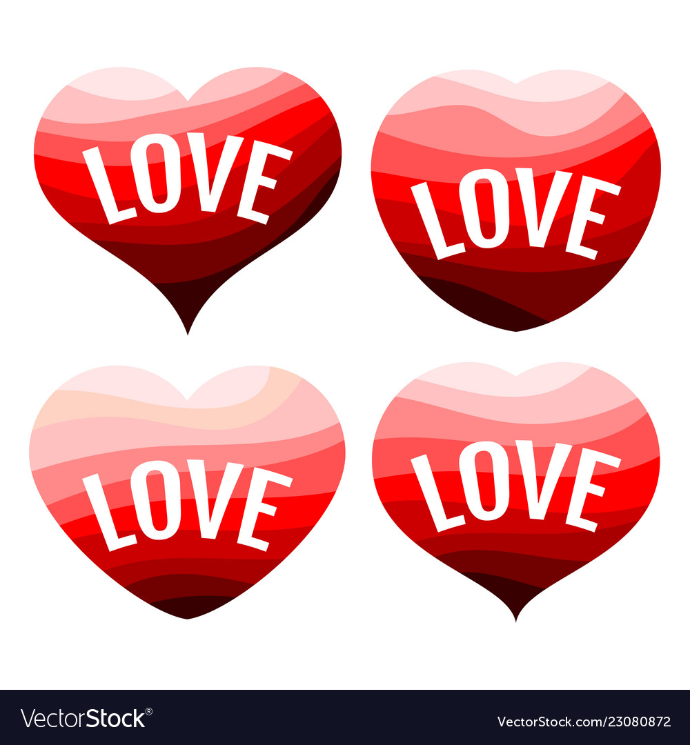 Set of four red hearts on a white background