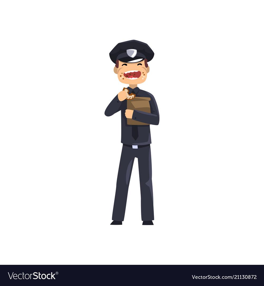 Smiling police officer in blue uniform eating