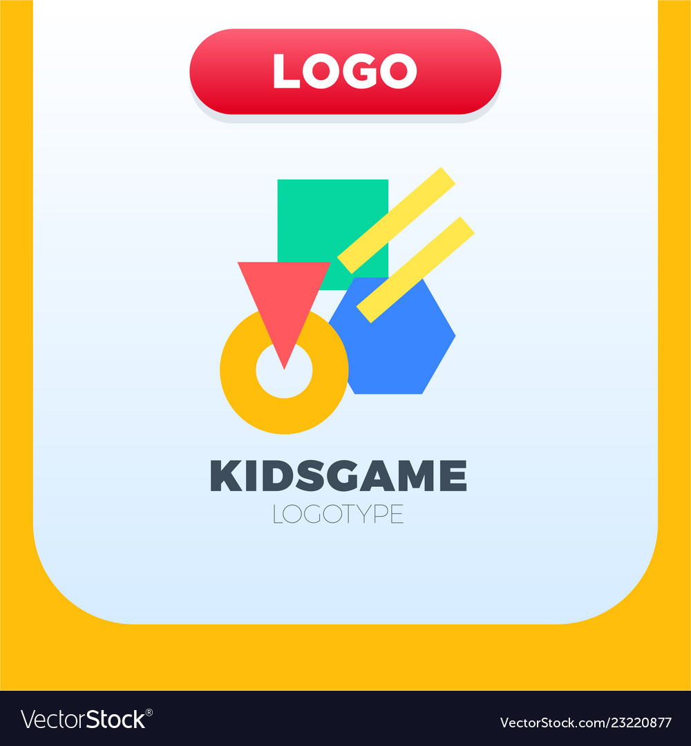 Abstract geometric kids logo with different color