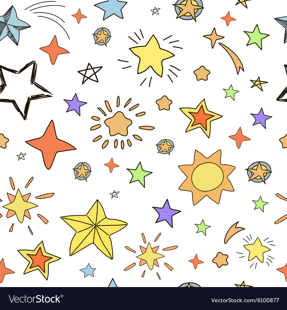 Collection handdrawn stars seamless pattern