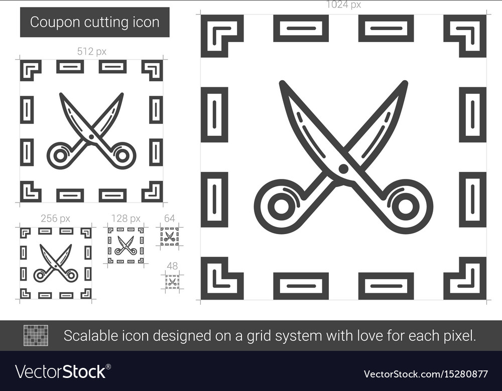 Coupon cutting line icon