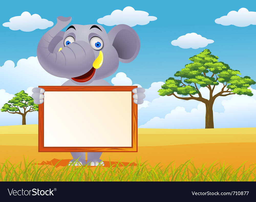 Elephant and blank sign vector image