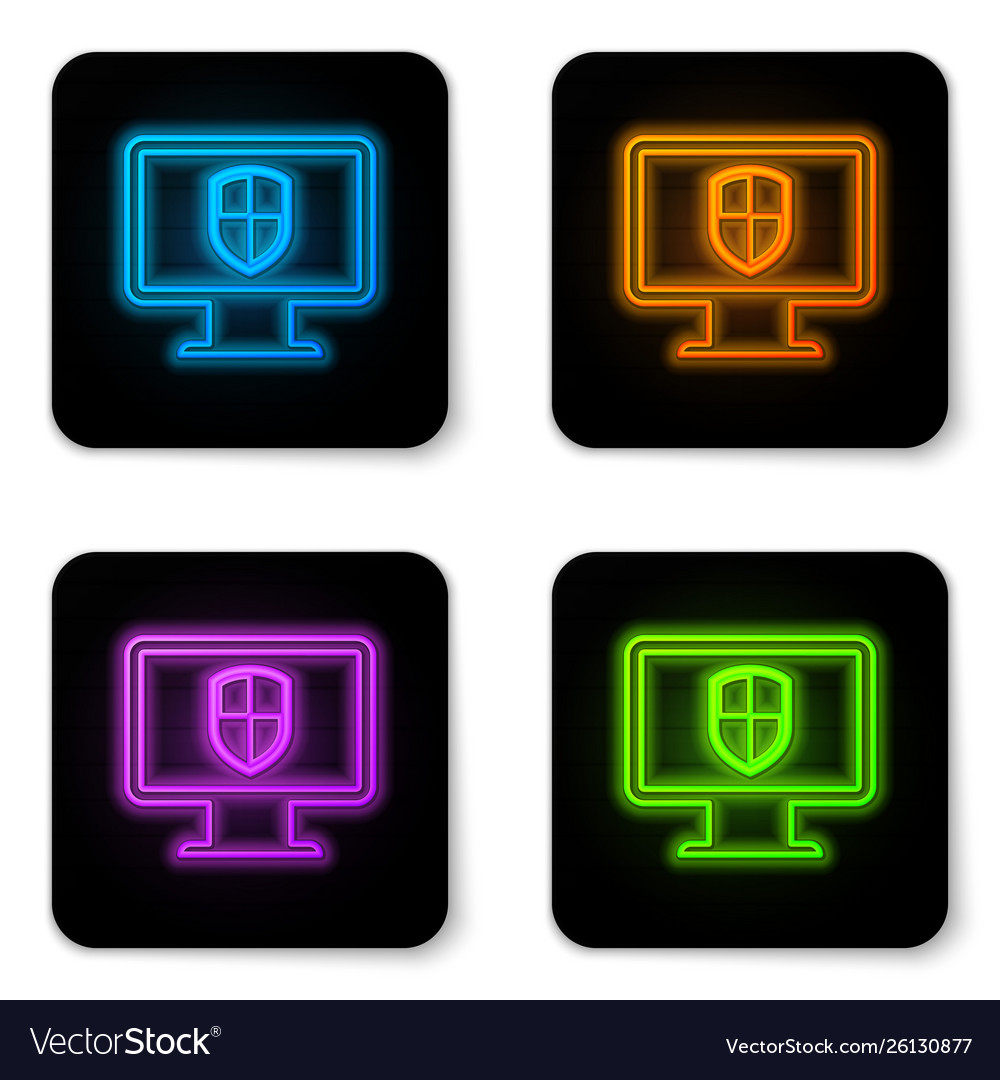 Glowing neon computer monitor and shield icon