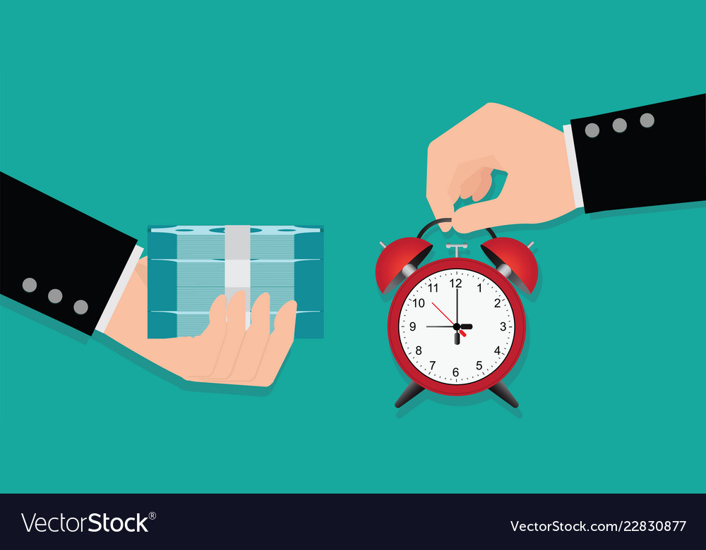 Hand holding exchanging time with money