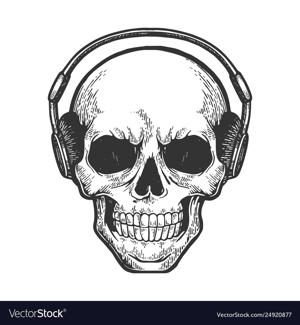 Human skull in headphones sketch engraving