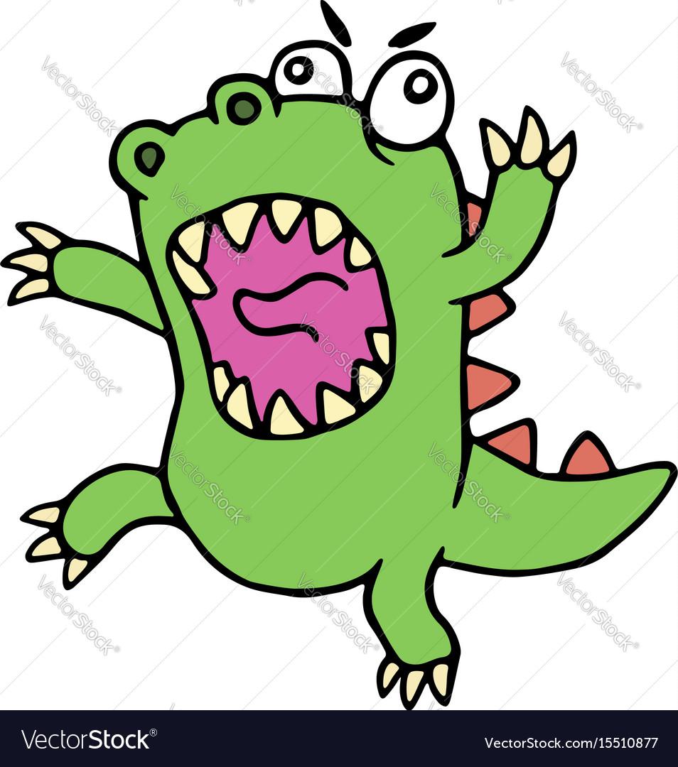 Mad cartoon dinosaur