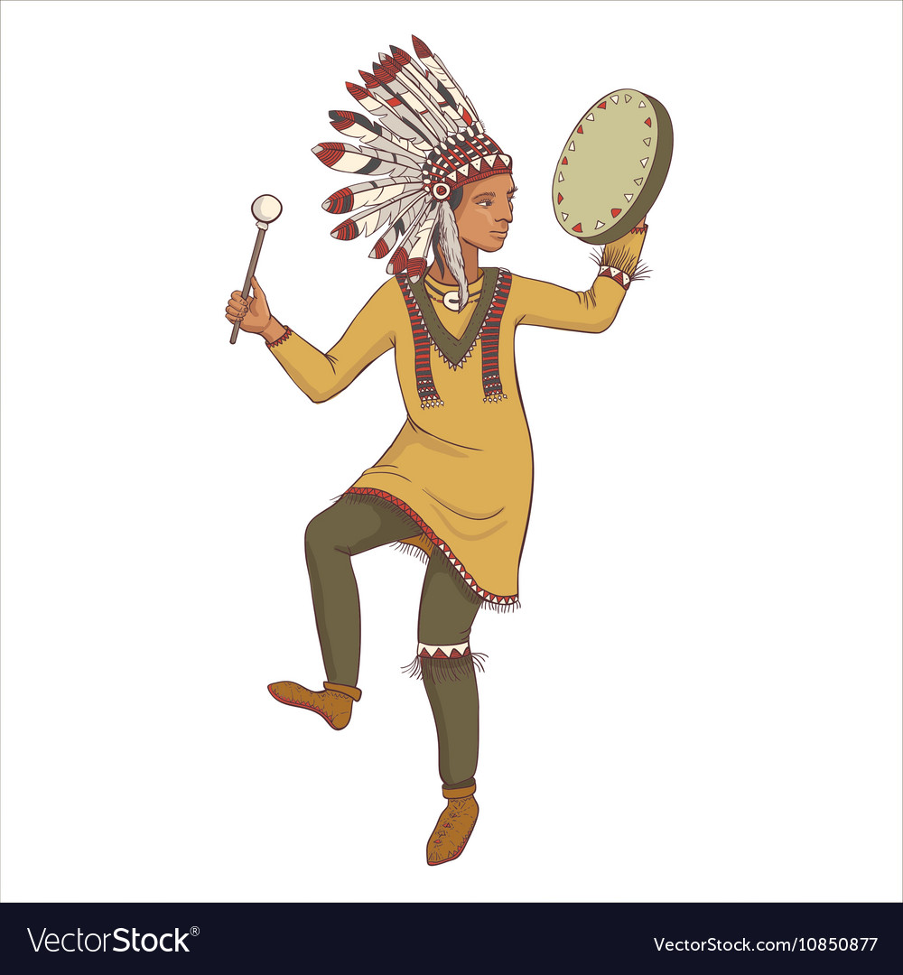 sc 1 st  VectorStock & Native american indian man in traditional costume Vector Image