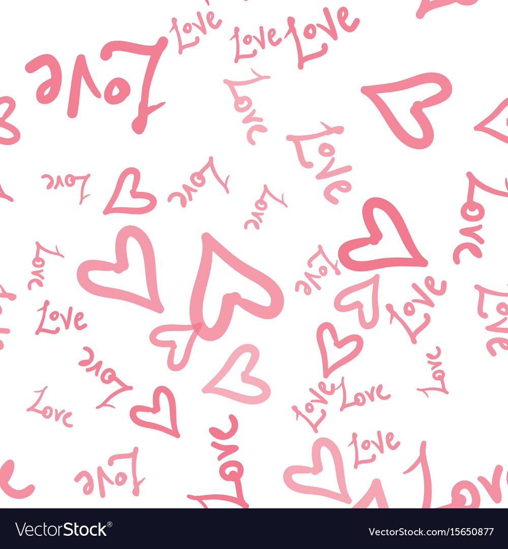 Pink hearts seamless pattern with hand vector image