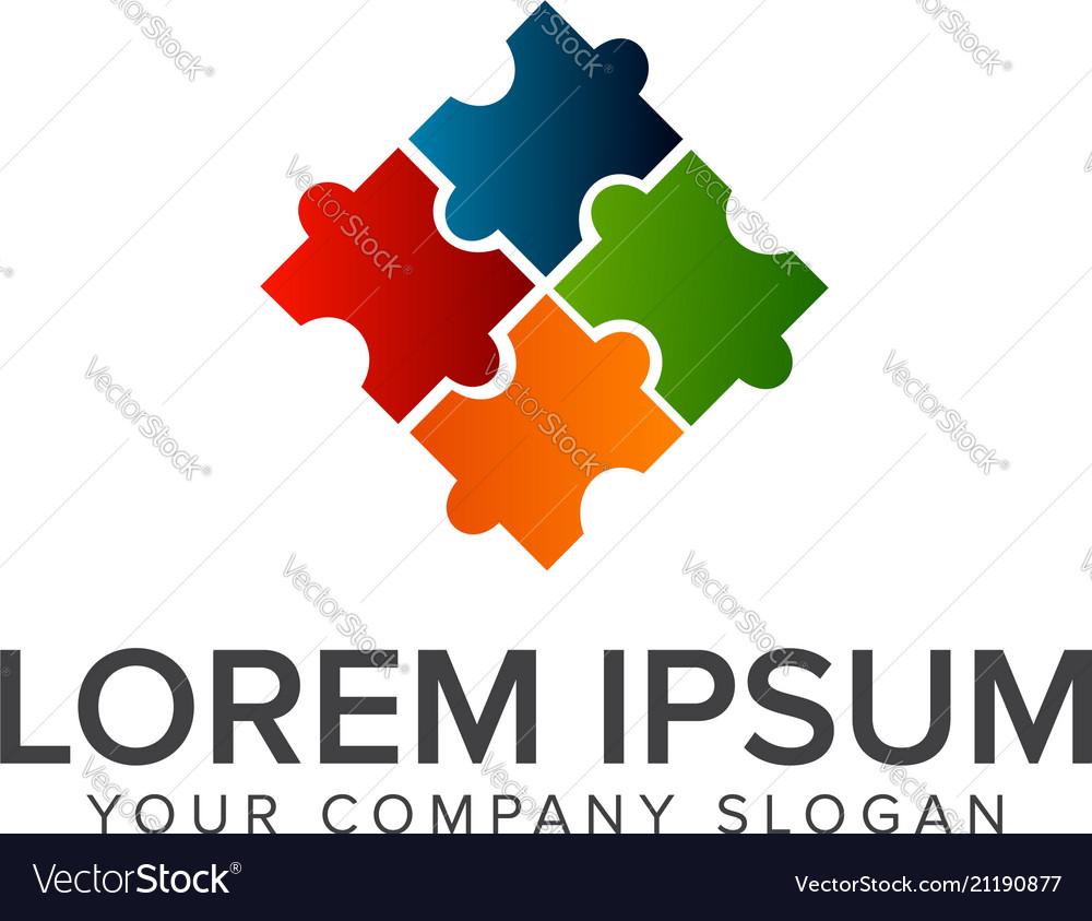 Puzzle logo design concept template