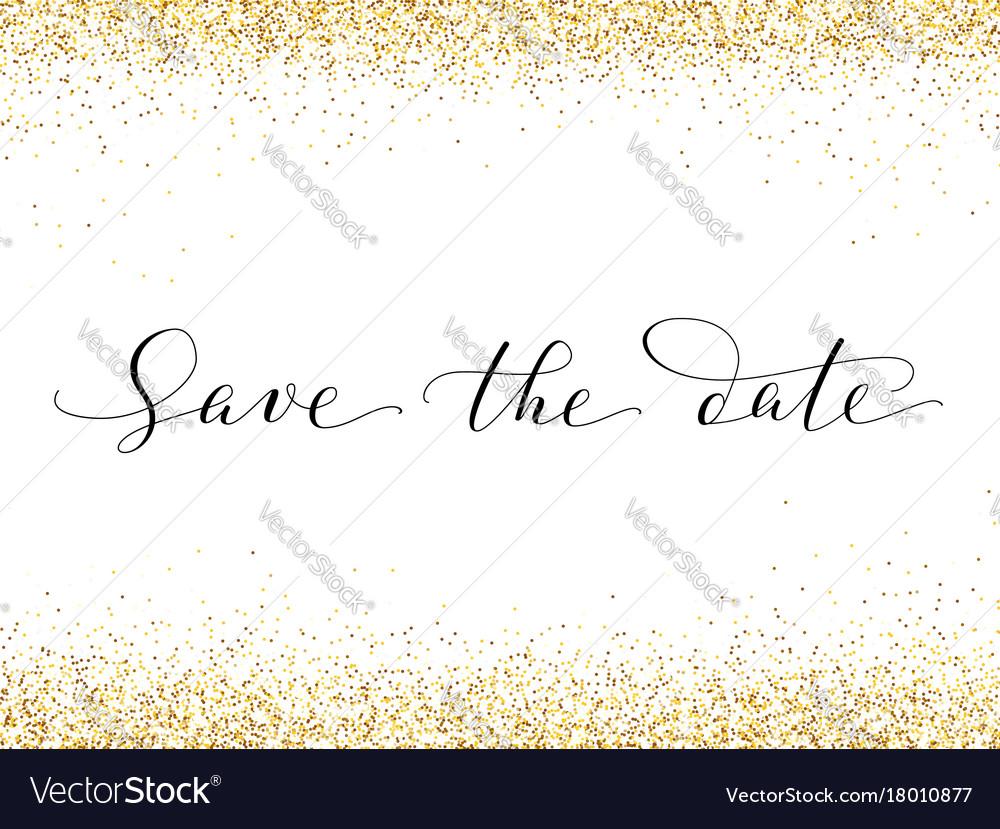 Save date card with falling glitter confetti
