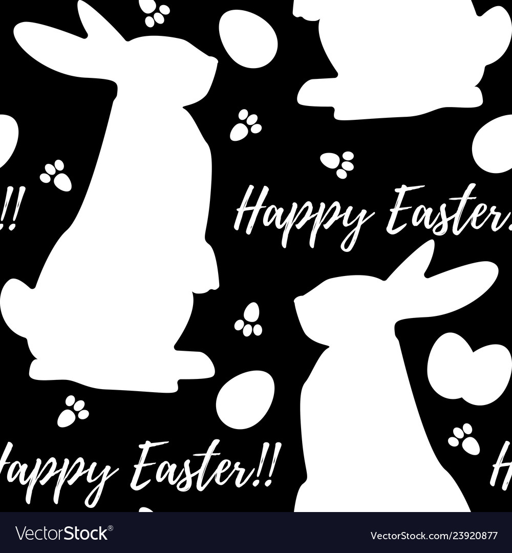 Seamless monochrome pattern with rabbits easter