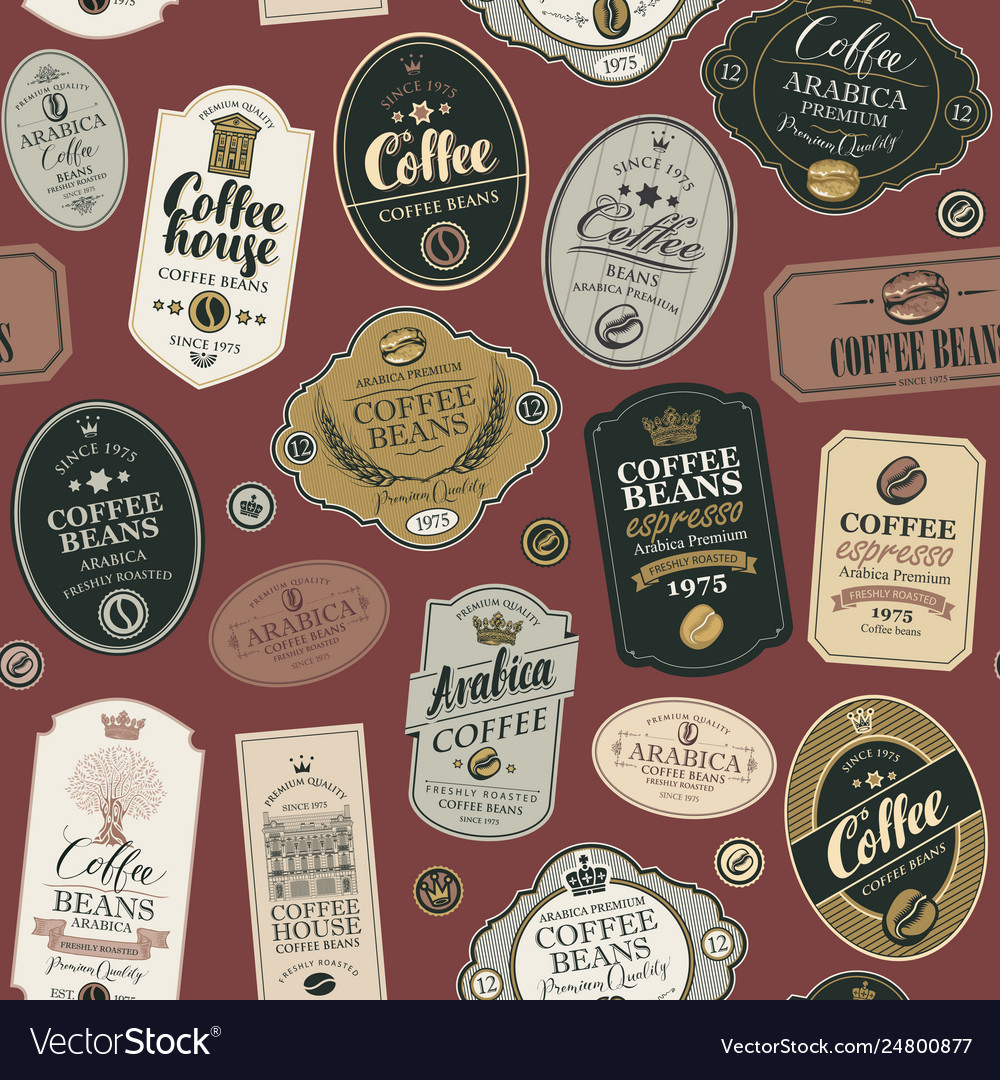 Seamless pattern with various coffee labels