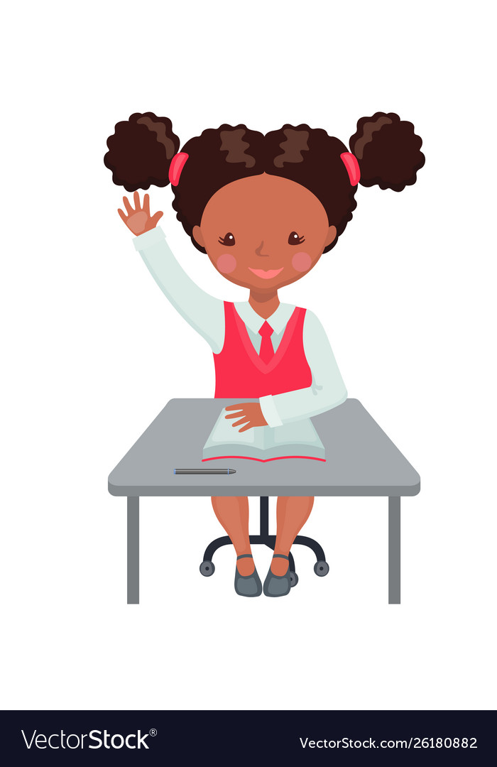 African american girl raising hand for an answer
