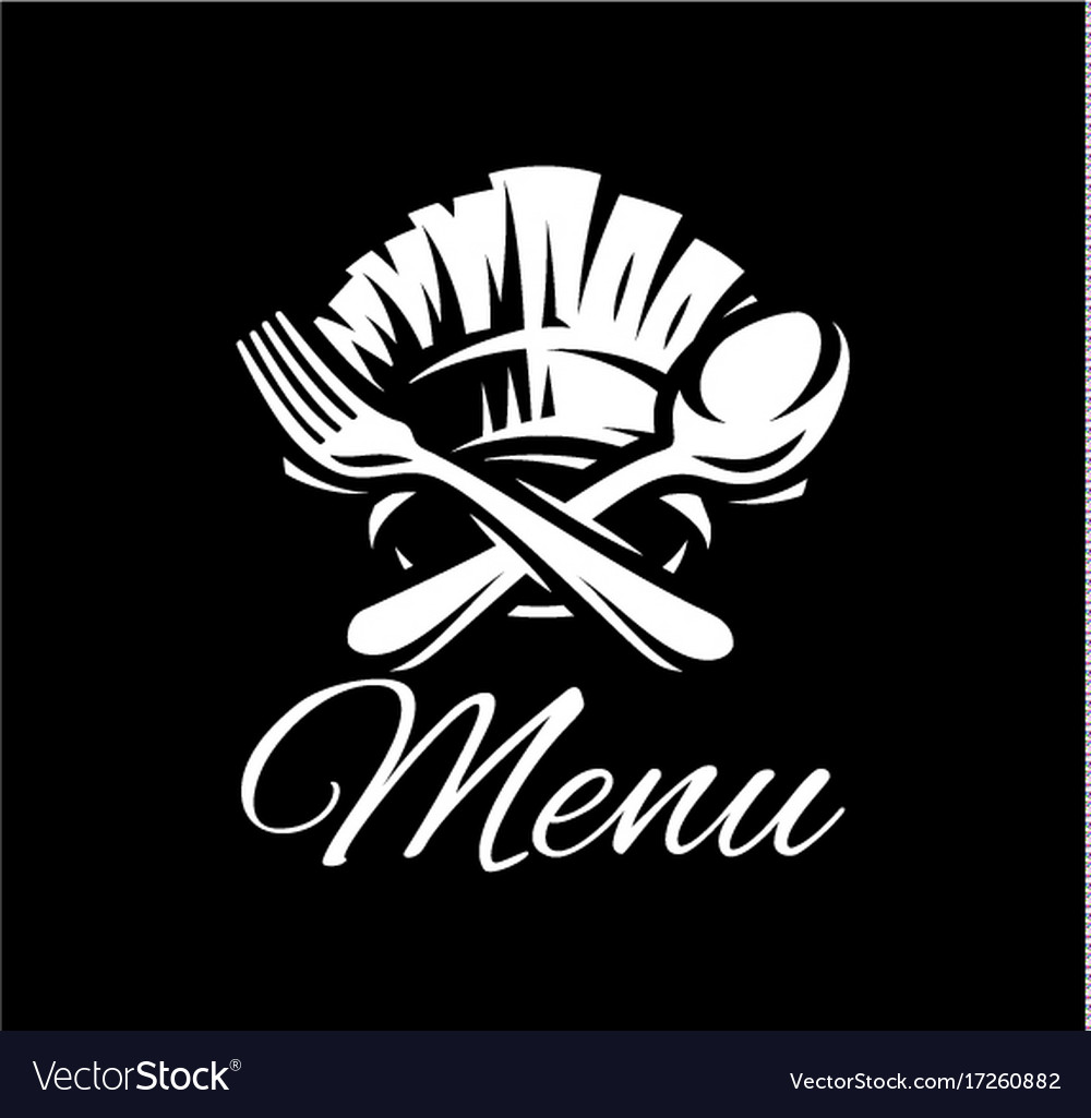 Black template with fork spoon and cap