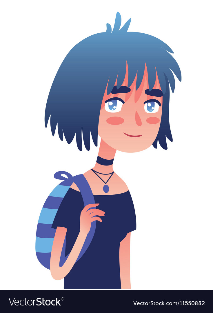 Cartoon girl with blue hair and striped backpack vector image