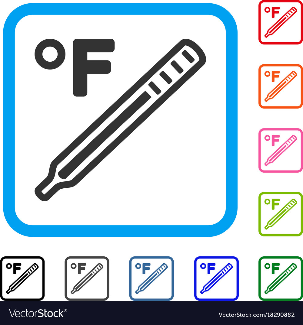 Fahrenheit Medical Thermometer Framed Icon Vector Image