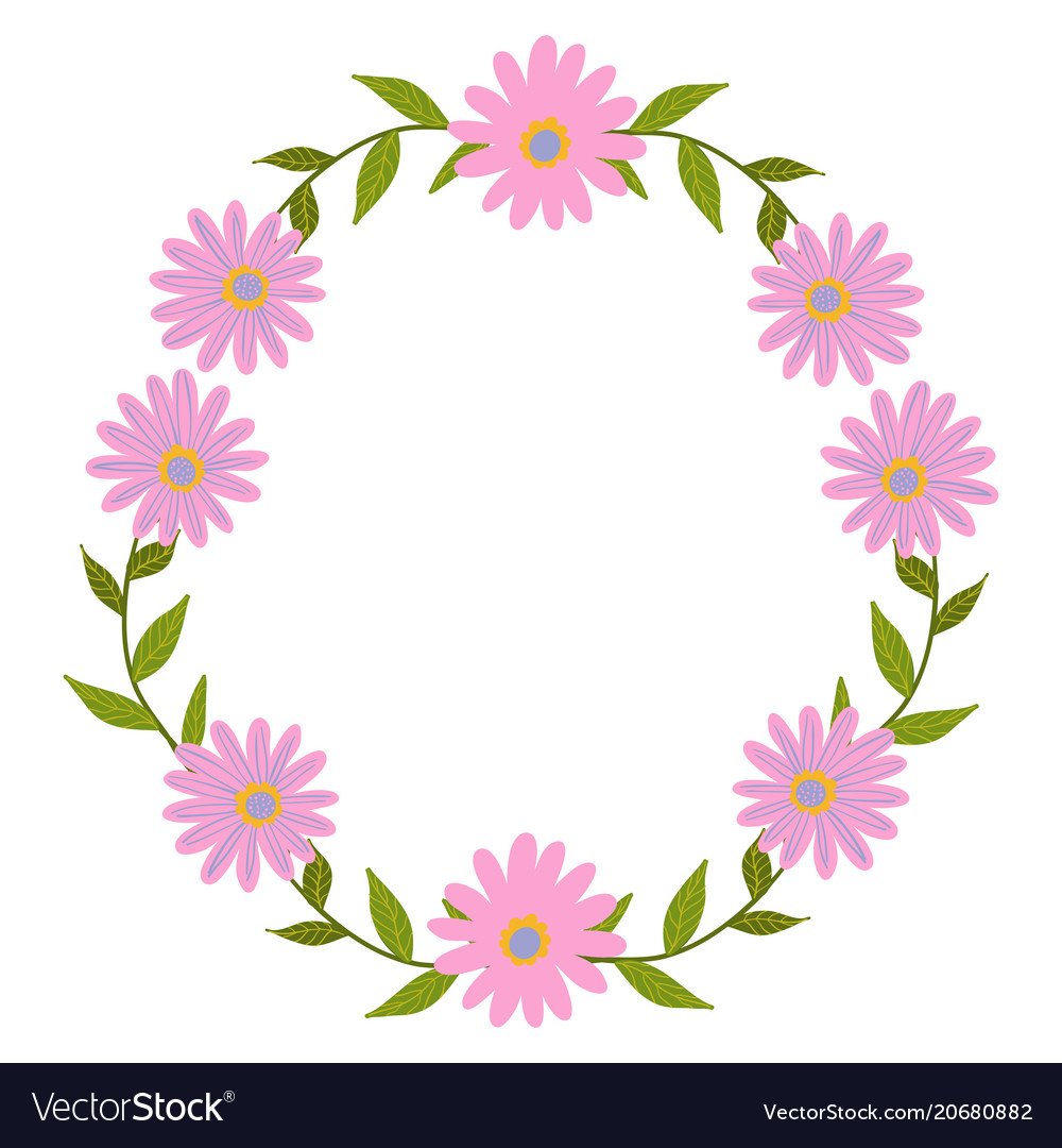 Flowers set beautiful wreath elegant